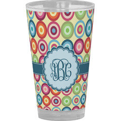 Retro Circles Drinking / Pint Glass (Personalized)