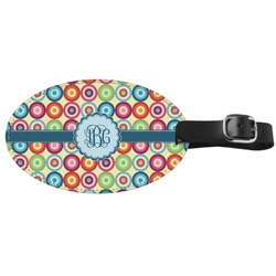 Retro Circles Genuine Leather Oval Luggage Tag (Personalized)