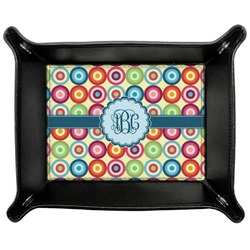 Retro Circles Genuine Leather Valet Tray (Personalized)