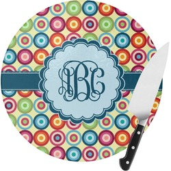 Retro Circles Round Glass Cutting Board (Personalized)