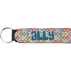 Retro Circles Neoprene Keychain Fob (Personalized)