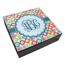 Retro Circles Leatherette Keepsake Box - 3 Sizes (Personalized)