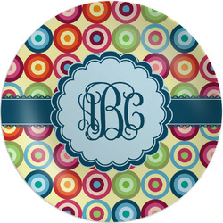 "Retro Circles Melamine Plate - 8"" (Personalized)"