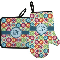 Retro Circles Oven Mitt & Pot Holder (Personalized)
