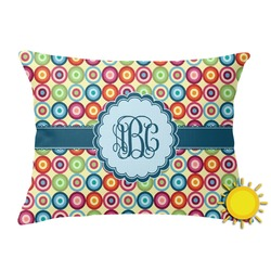 Retro Circles Outdoor Throw Pillow (Rectangular) (Personalized)