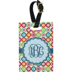 Retro Circles Rectangular Luggage Tag (Personalized)