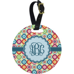 Retro Circles Round Luggage Tag (Personalized)