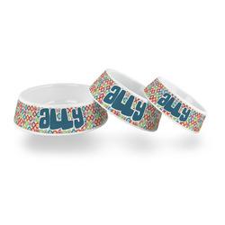 Retro Circles Plastic Dog Bowl (Personalized)