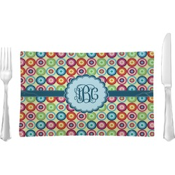 Retro Circles Rectangular Glass Lunch / Dinner Plate - Single or Set (Personalized)