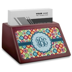 Retro Circles Red Mahogany Business Card Holder (Personalized)