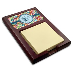 Retro Circles Red Mahogany Sticky Note Holder (Personalized)
