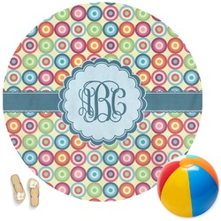 Retro Circles Round Beach Towel (Personalized)
