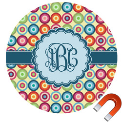 Retro Circles Round Car Magnet (Personalized)