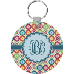 Retro Circles Round Keychain (Personalized)