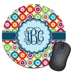 Retro Circles Round Mouse Pad (Personalized)