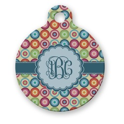 Retro Circles Round Pet Tag (Personalized)