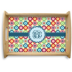 Retro Circles Natural Wooden Tray (Personalized)