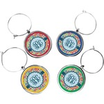 Retro Circles Wine Charms (Set of 4) (Personalized)