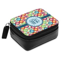 Retro Circles Small Leatherette Travel Pill Case (Personalized)