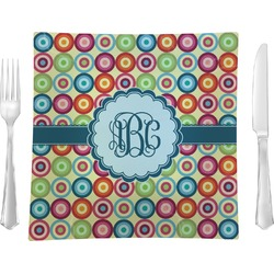 """Retro Circles 9.5"""" Glass Square Lunch / Dinner Plate- Single or Set of 4 (Personalized)"""