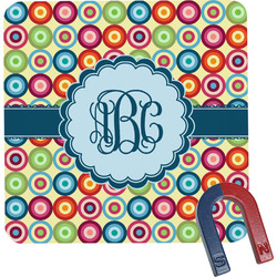 Retro Circles Square Fridge Magnet (Personalized)
