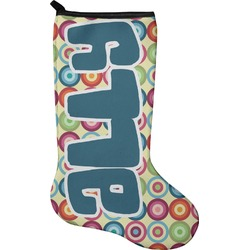 Retro Circles Christmas Stocking - Neoprene (Personalized)
