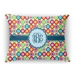Retro Circles Rectangular Throw Pillow Case (Personalized)