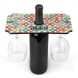 Retro Circles Wine Bottle & Glass Holder (Personalized)