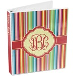 Retro Vertical Stripes 3-Ring Binder (Personalized)