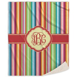 Retro Vertical Stripes Sherpa Throw Blanket (Personalized)