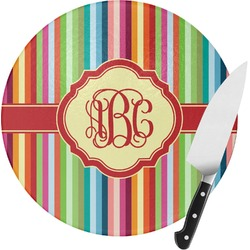 Retro Vertical Stripes Round Glass Cutting Board - Small (Personalized)