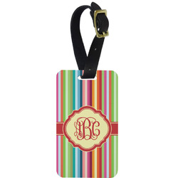 Retro Vertical Stripes Aluminum Luggage Tag (Personalized)