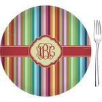 "Retro Vertical Stripes Glass Appetizer / Dessert Plates 8"" - Single or Set (Personalized)"