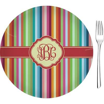 "Retro Vertical Stripes 8"" Glass Appetizer / Dessert Plates - Single or Set (Personalized)"