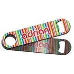 Retro Vertical Stripes Bar Bottle Opener w/ Monogram