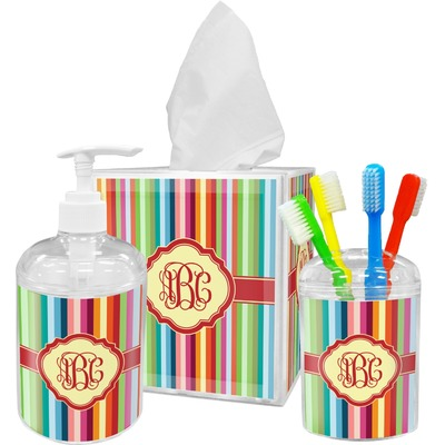Retro Vertical Stripes Bathroom Accessories Set (Personalized)