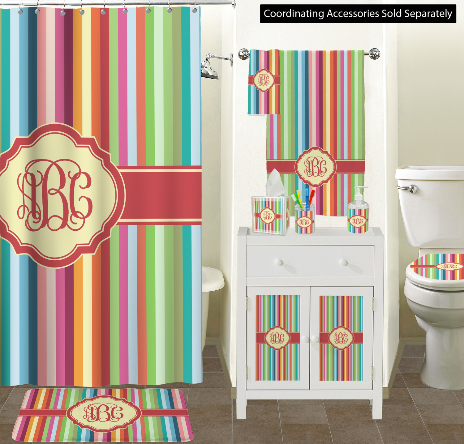 Retro Vertical Stripes Shower Curtain Personalized