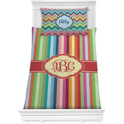Retro Vertical Stripes Comforter Set - Twin XL (Personalized)