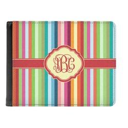 Retro Vertical Stripes Genuine Leather Men's Bi-fold Wallet (Personalized)