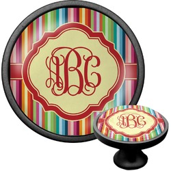 Retro Vertical Stripes Cabinet Knob (Black) (Personalized)