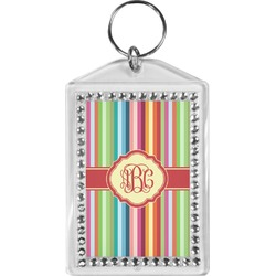 Retro Vertical Stripes Bling Keychain (Personalized)