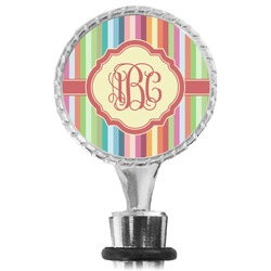 Retro Vertical Stripes Wine Bottle Stopper (Personalized)
