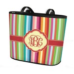 Retro Vertical Stripes Bucket Tote w/ Genuine Leather Trim (Personalized)