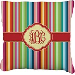Retro Vertical Stripes Faux-Linen Throw Pillow (Personalized)