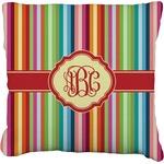 Retro Vertical Stripes Faux-Linen Throw Pillow (Personalized)