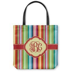 Retro Vertical Stripes Canvas Tote Bag (Personalized)