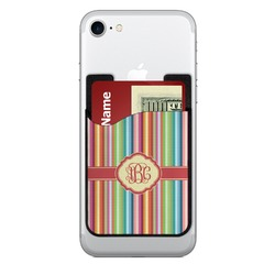 Retro Vertical Stripes 2-in-1 Cell Phone Credit Card Holder & Screen Cleaner (Personalized)