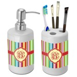 Retro Vertical Stripes Bathroom Accessories Set (Ceramic) (Personalized)