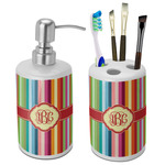 Retro Vertical Stripes Bathroom Accessories Set (Ceramic) (Personalized)