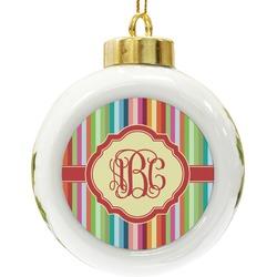 Retro Vertical Stripes Ceramic Ball Ornament (Personalized)